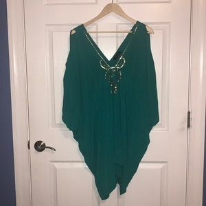 Tunic top green with sequins around V-neck